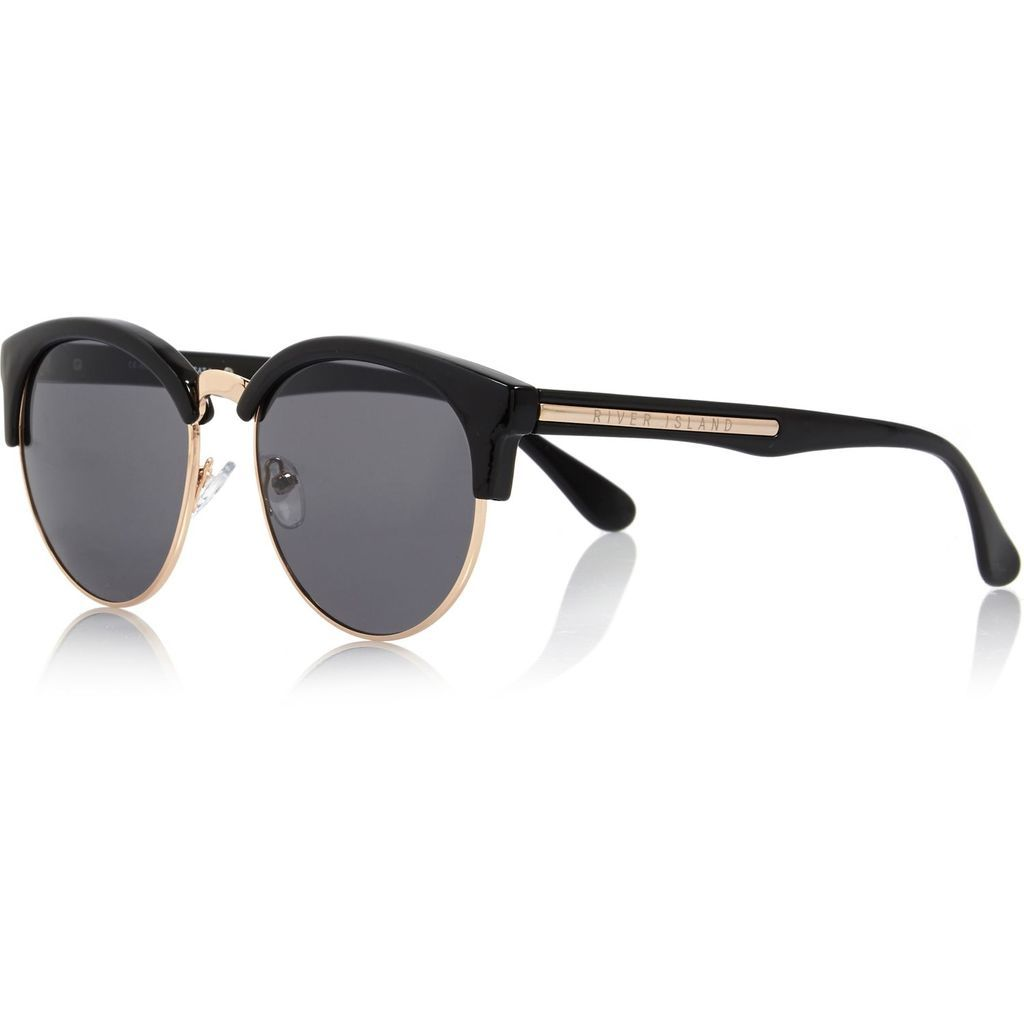 Black Half Frame Retro Sunglasses - River Island reve