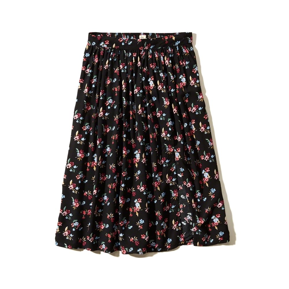 pattern slit midi skirt hollister reve