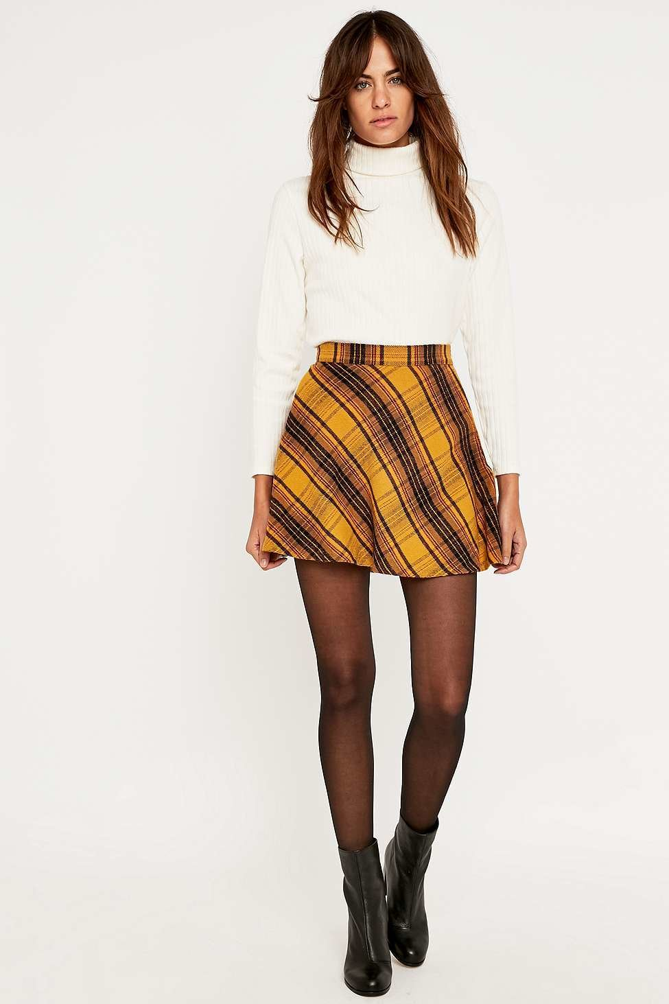 317062c65 Urban Outfitters Bias Yellow Plaid Skirt - Urban Outfitters | reve