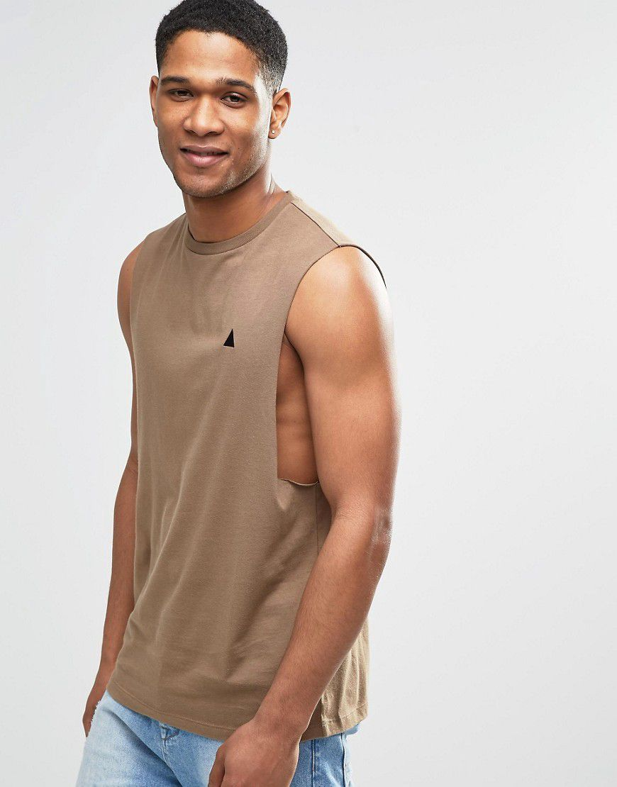Logo Sleeveless T-Shirt With Dropped Armhole In Brown - Brown - Asos | reve