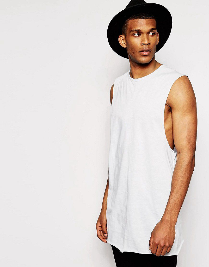 91bb78fb611d83 Super Longline Sleeveless T-Shirt With Dropped Armhole And Raw Edge - Grey  - Asos