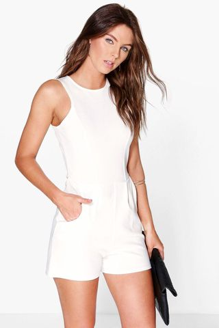 fffe7a198a18a Lily Crepe Sleeveless Playsuit - Boohoo