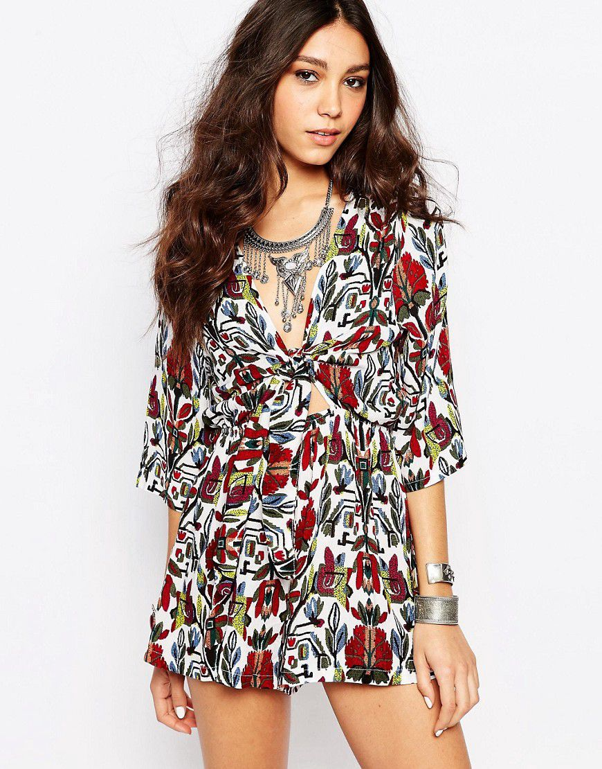 a6c48bc7a4 Wyldr Bow Front Printed Playsuit - Red - Asos