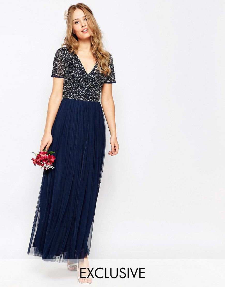 0fe30374058 Maya V Neck Maxi Tulle Dress With Tonal Delicate Sequins - Asos