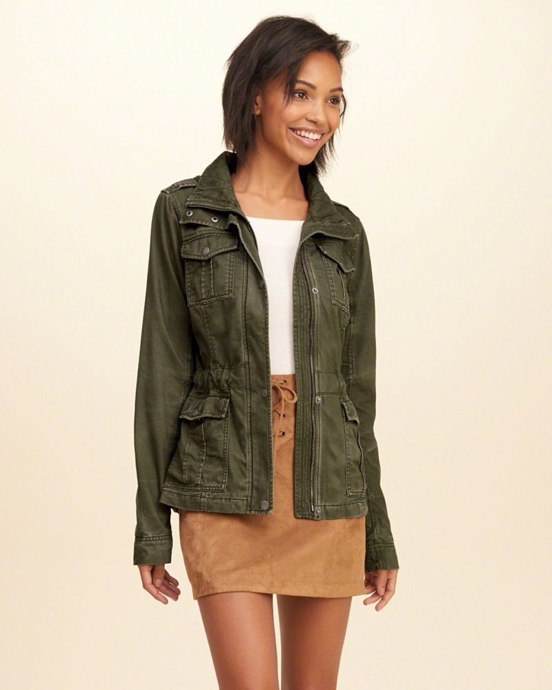 fashion for whole family lower price with Waisted Military Shirt Jacket - Hollister | reve