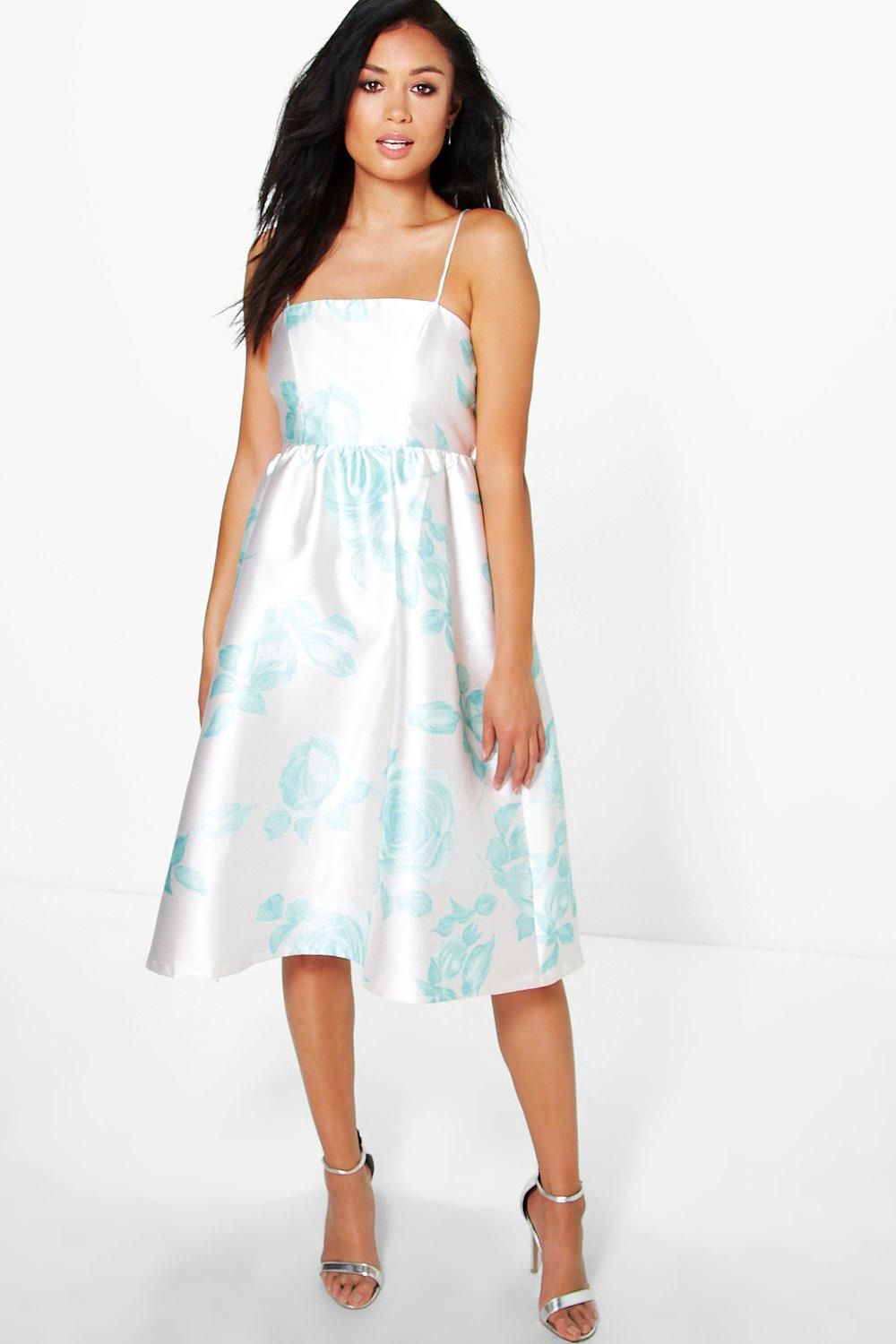 Boutique Ela Floral Sateen Strappy Midi Dress - Boohoo  ba9899ac0