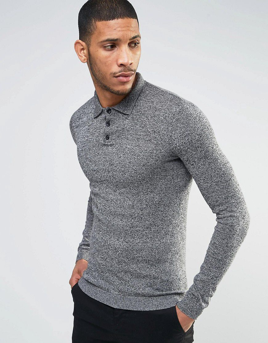 412ce1ff77f7fd Muscle Fit Knitted Polo In Black & White Twist - Grey - Asos | reve