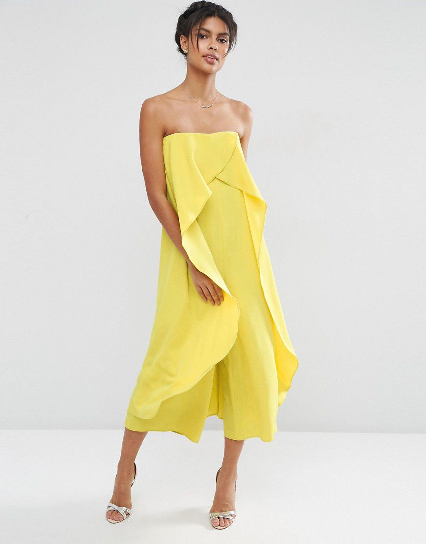 f17eadc30e2b5 Bandeau Jumpsuit With Ruffle Overlayer - Yellow - Asos