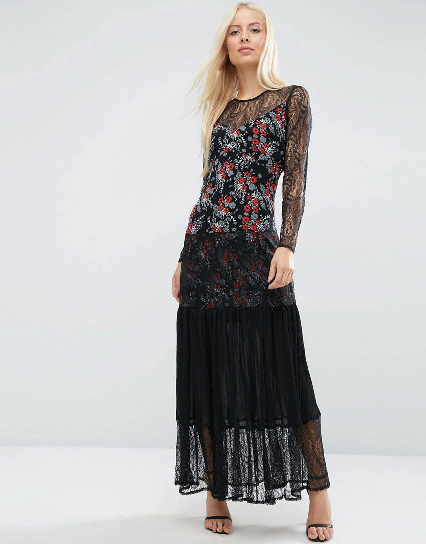 PREMIUM Lace Insert Pleated Maxi Dress in Ditsy Print - Multi Asos