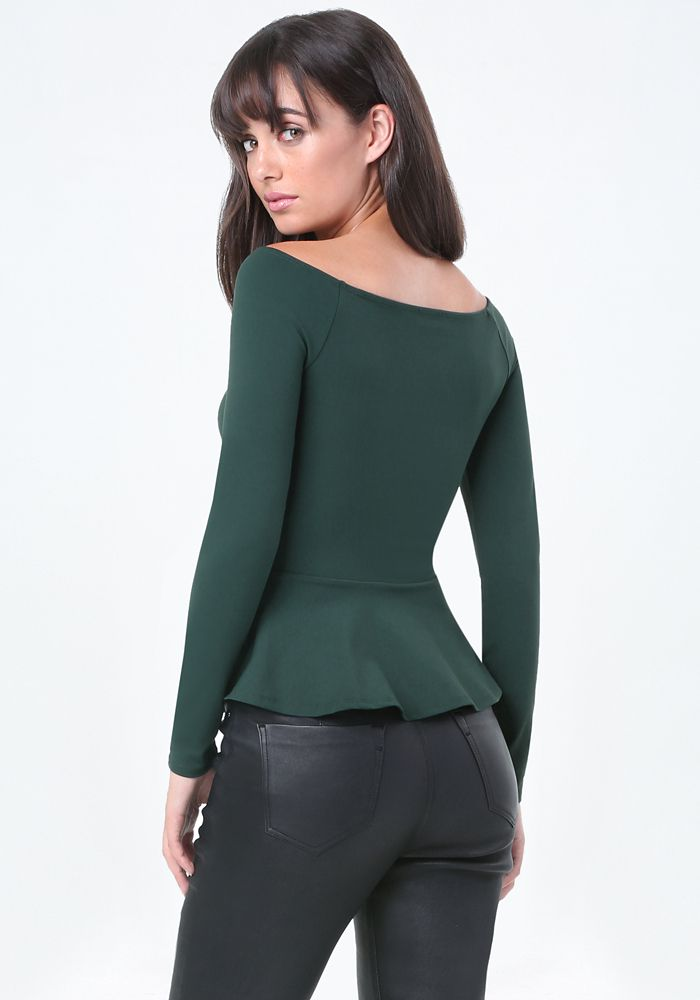 Bare Shoulder Peplum Top