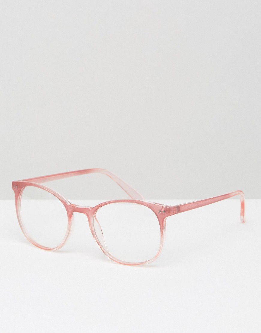 3114c4742d337 Asos Geeky Round Clear Lens Glasses In Pink - Asos