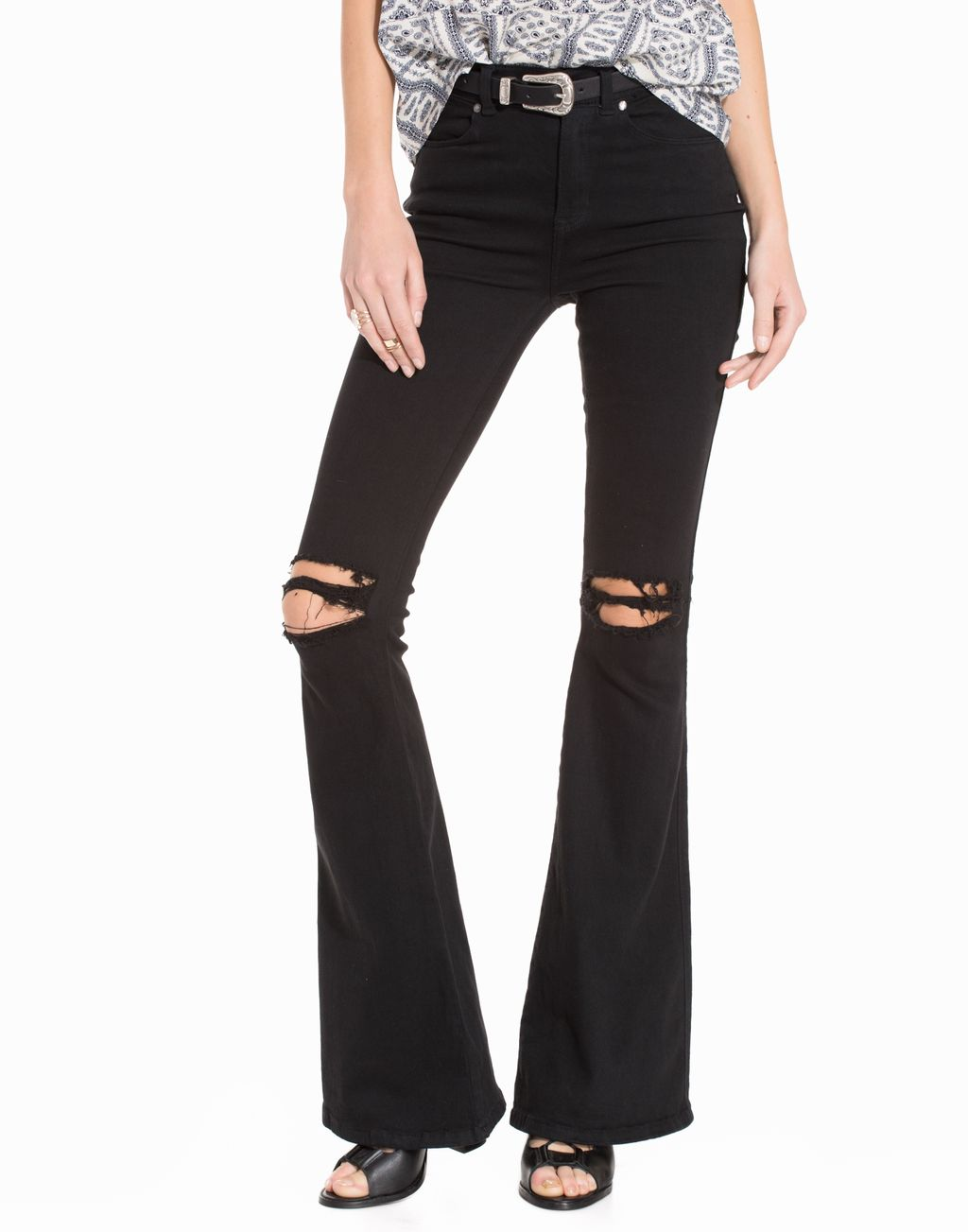 f13f1e5153b Macy Ripped Knees Bootcut & Flare Black - Nelly.com | reve