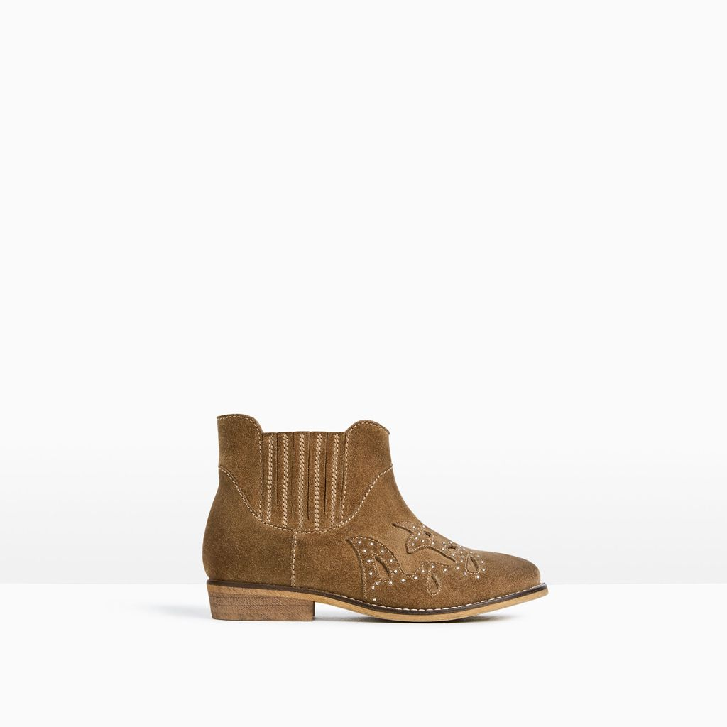 split suede leather ankle boots zara reve