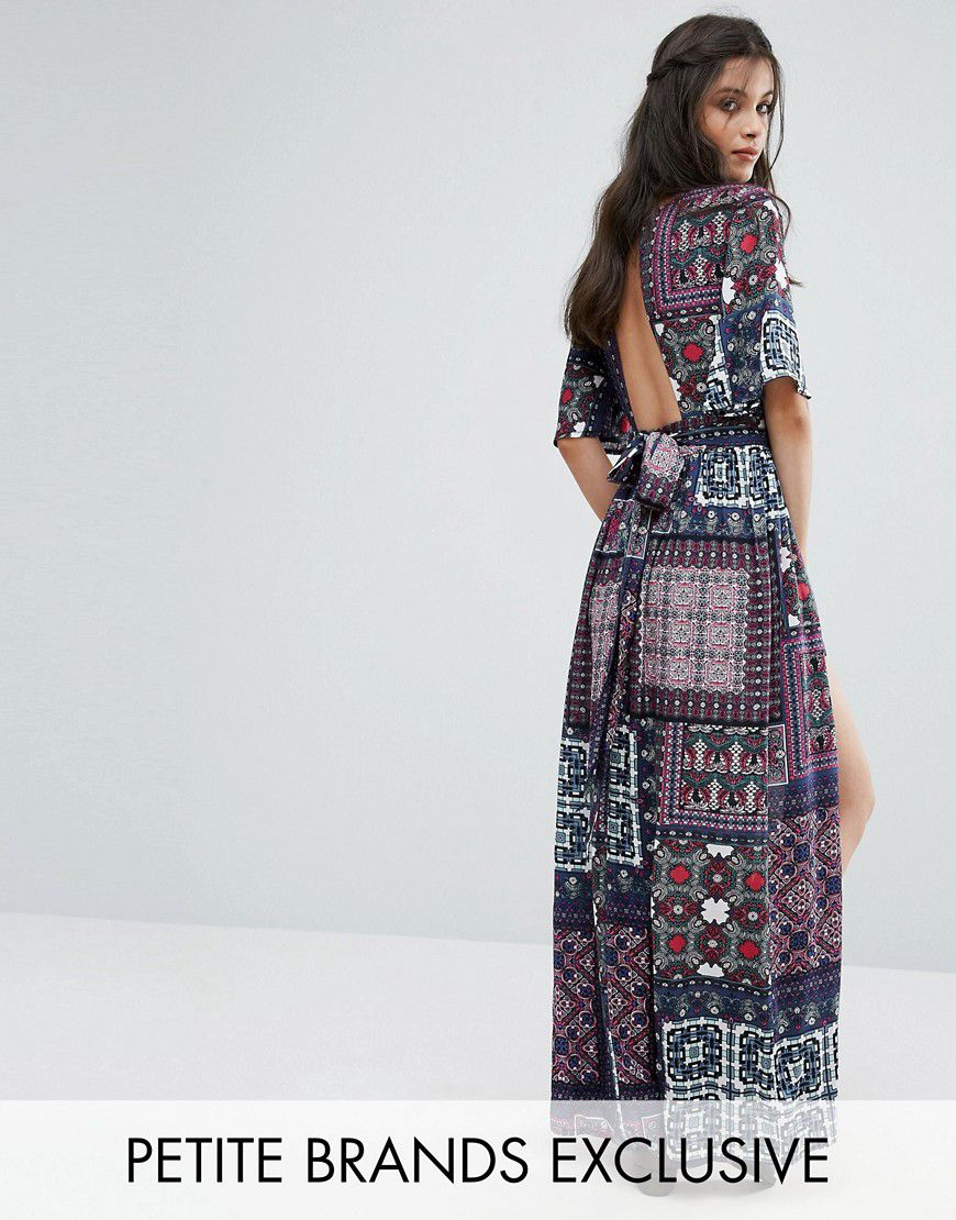 9430cd6d09c Sisters Of The Tribe Patchwork Print Playsuit With Maxi Train Detail -  Multi - Asos
