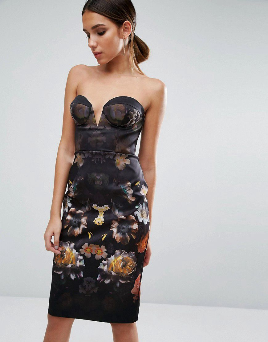 4c3527ee4ad4 Asos Floral Cupped Bandeau Midi Dress - Asos