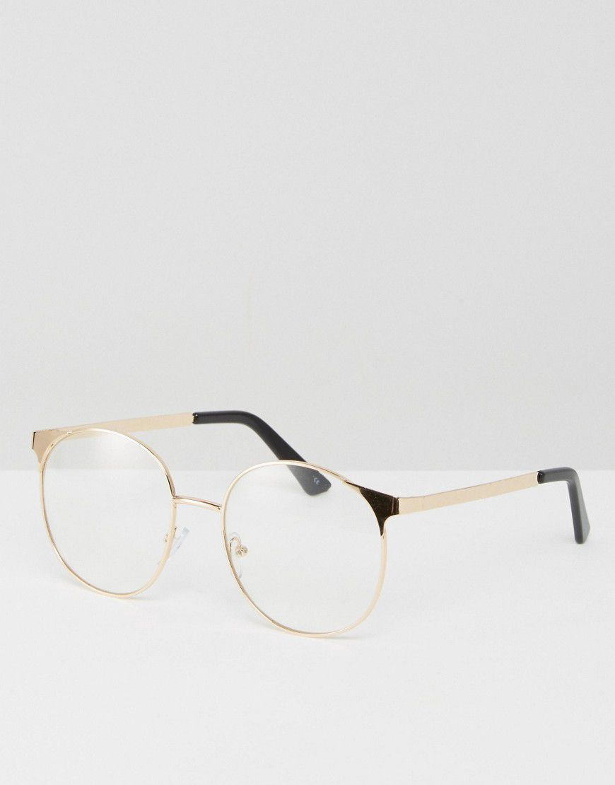 e27abb28dc Asos Design Geeky Metal Round Clear Lens Glasses - Asos