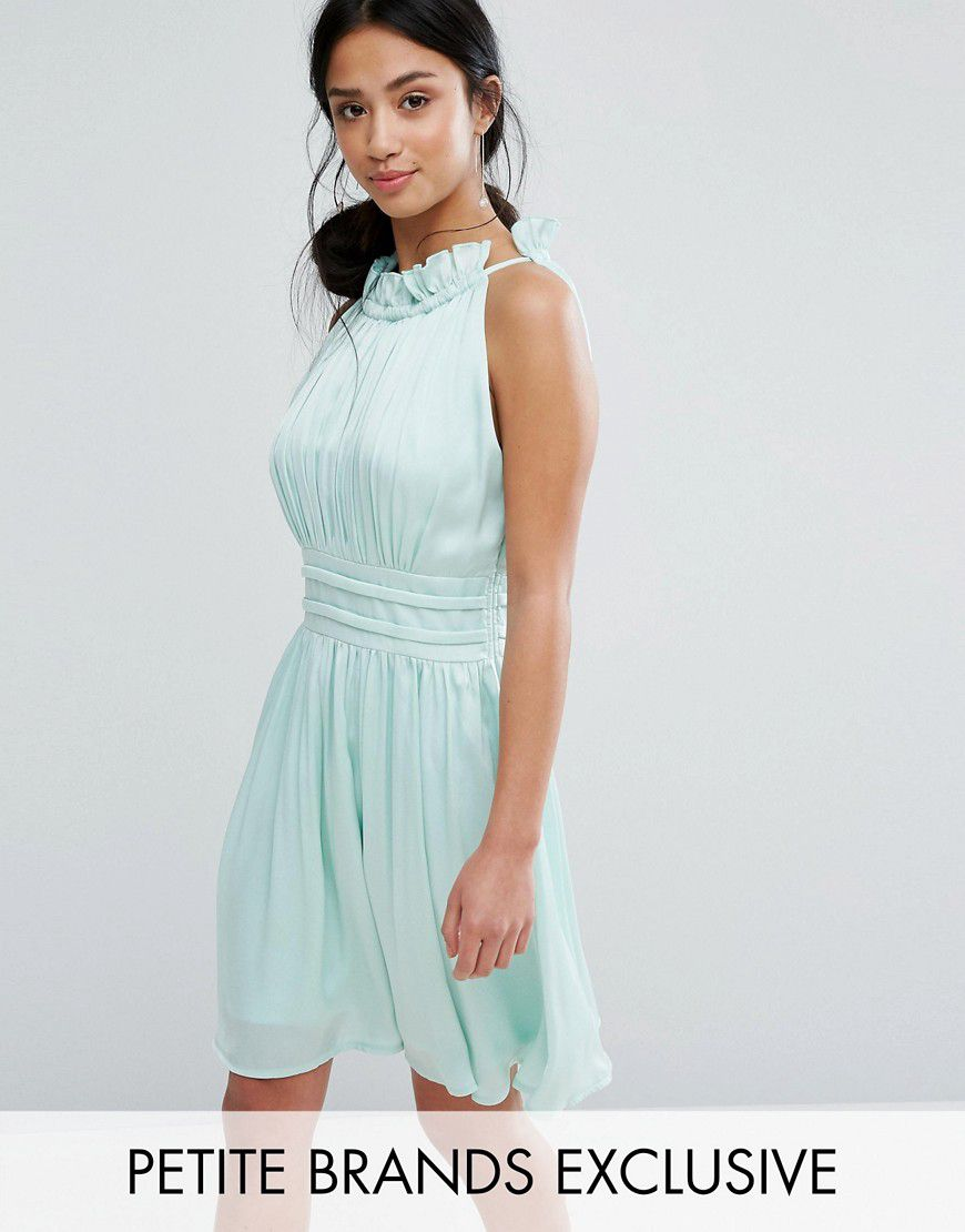 Little Mistress Petite Ruched Pleated Mini Prom Skater Dress ...