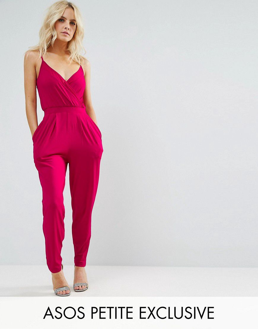 3afccebfd10a Asos Petite Cami Wrap Front Jersey Jumpsuit With Peg Leg - Pink - Asos
