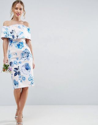 DESIGN Bridesmaid print structured floral bardot pencil midi dress - Multi Asos Cost Cheap Online Wiki Sale Online XA7pTnJkc