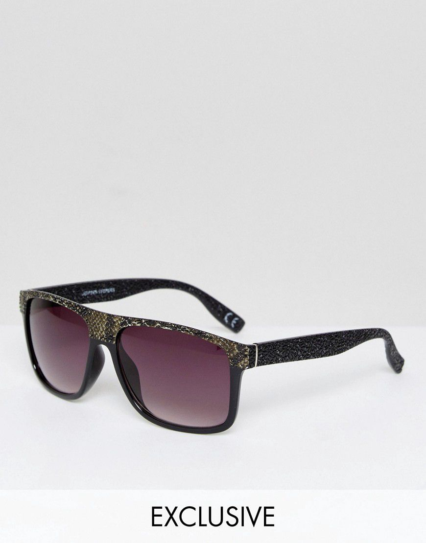 1a8d5a9193 Jeepers Peepers Snake Print Flat Top Visor Sunglasses With Gradient Lens -  Asos