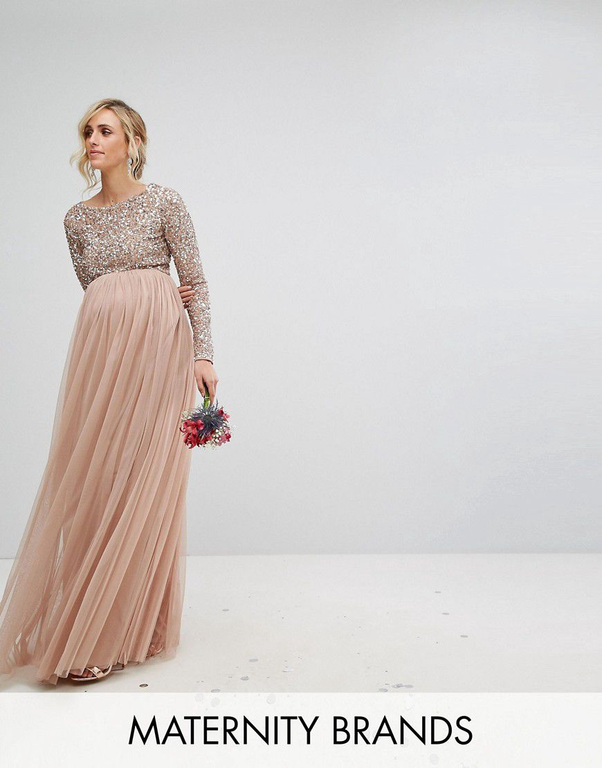 bc635424d0bc Maya Maternity Long Sleeved Maxi Dress With Delicate Sequin And Tulle Skirt  - Asos