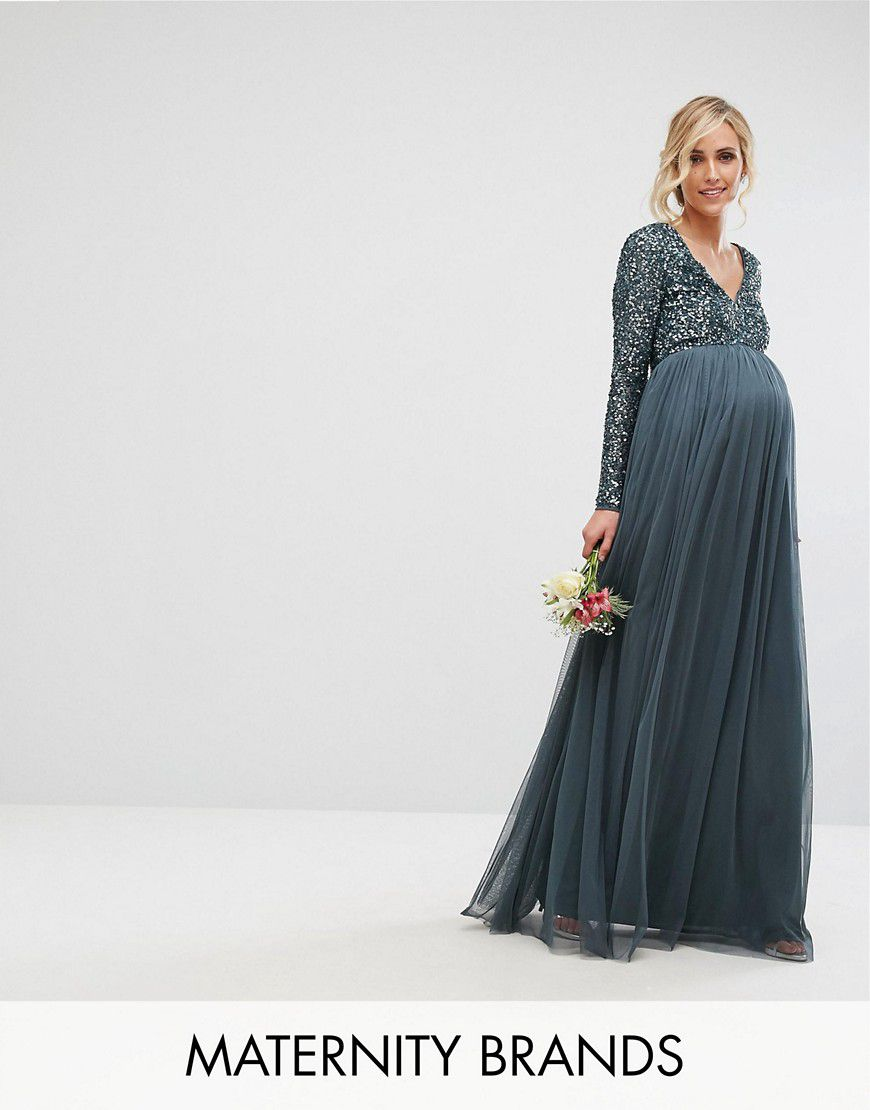 5f6f3eb737 Maya Maternity Plunge Front Long Sleeve Maxi Dress In Tonal Delicate Sequin  And Tulle Skirt - Asos