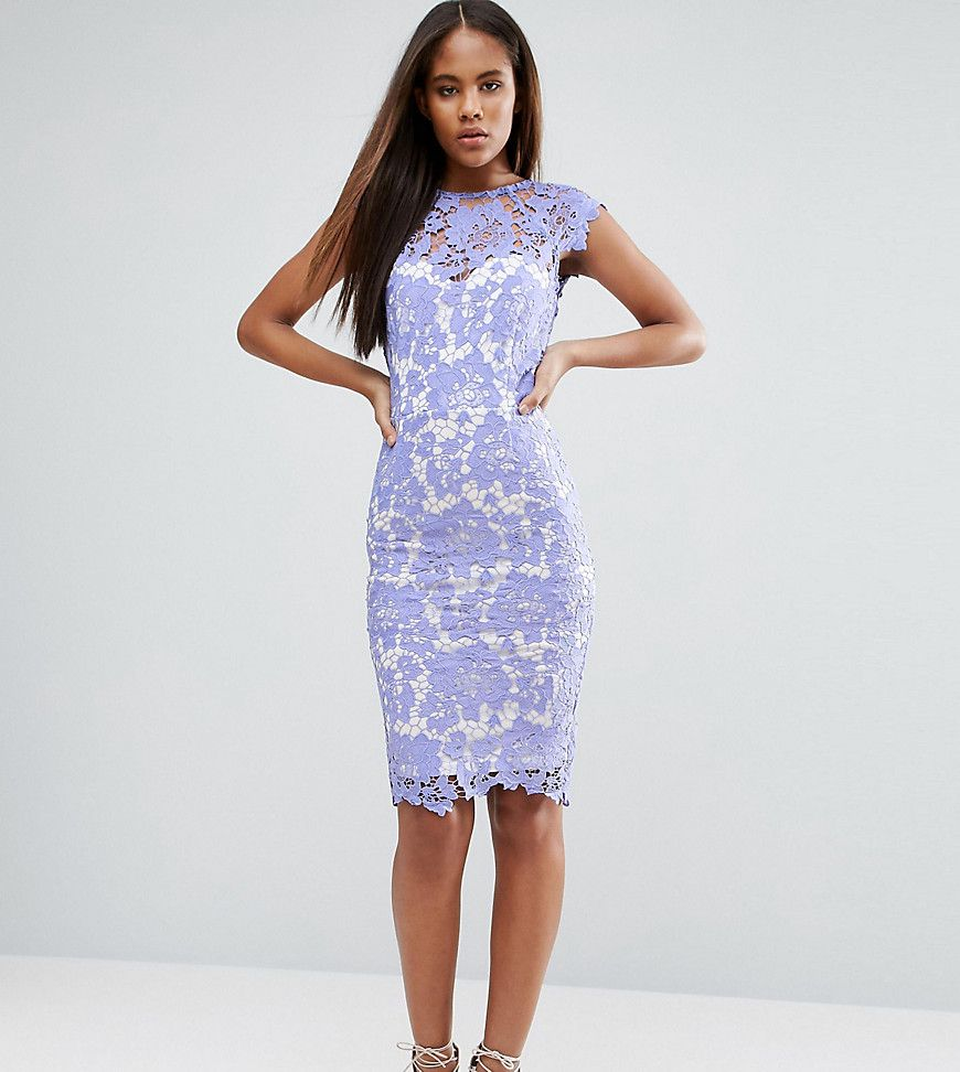 686f0516f96 Paper Dolls Tall Allover Lace Pencil Dress With Plunge Back - Asos ...