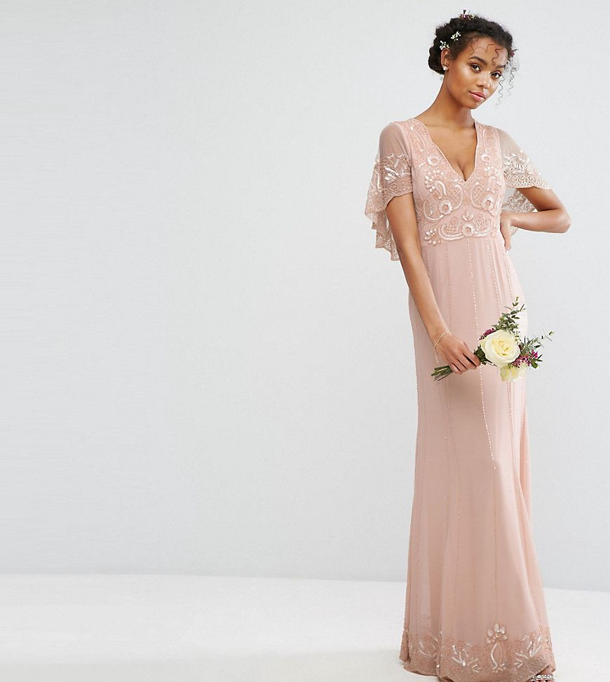 89ef3a32 Amelia Rose Cape Maxi Dress With Embellishment And Scalloping - Asos | reve