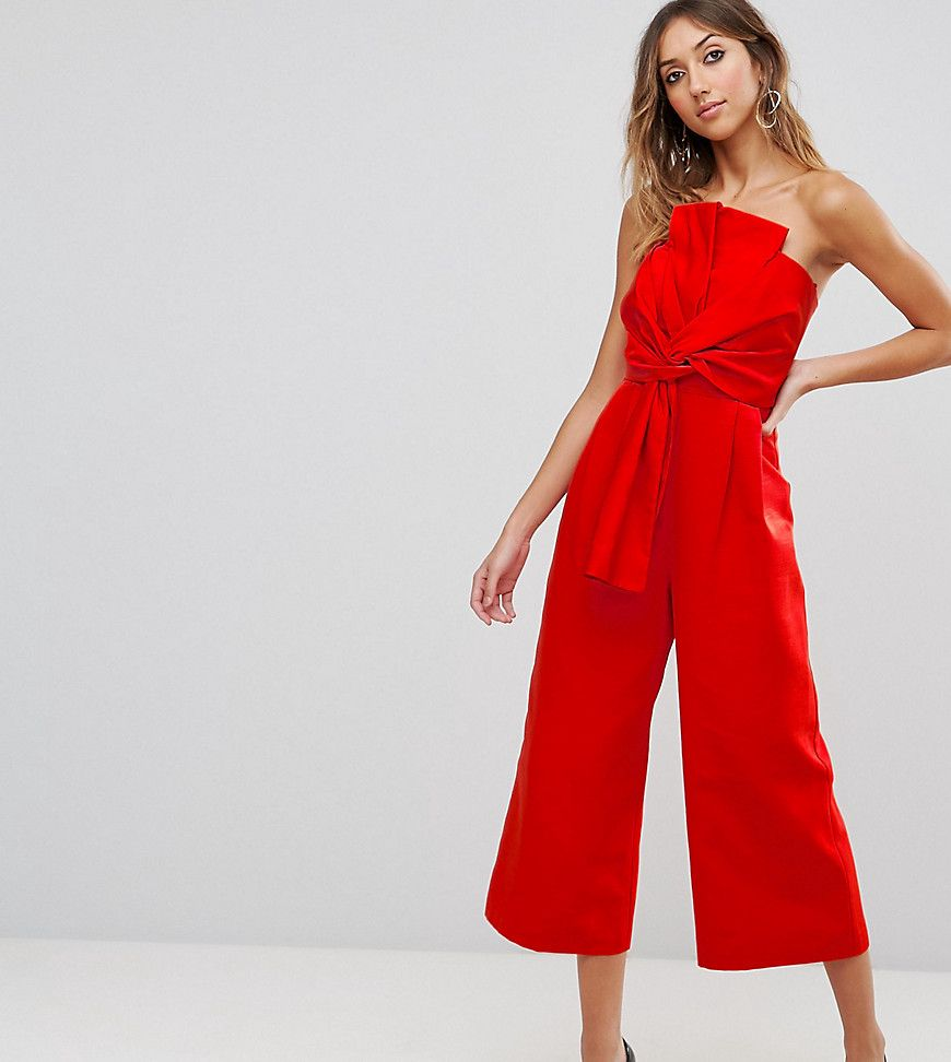 4ce80c7af9b Asos Tall Jumpsuit In Structured Fabric With Knot And Drape Detail - Asos