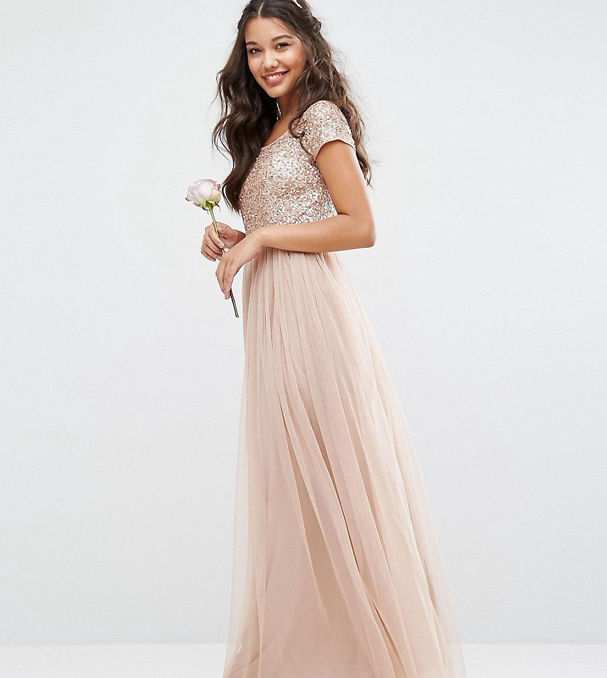 ca08fadd00 Maya Bardot Maxi Dress With Delicate Sequin And Tulle Skirt - Asos ...