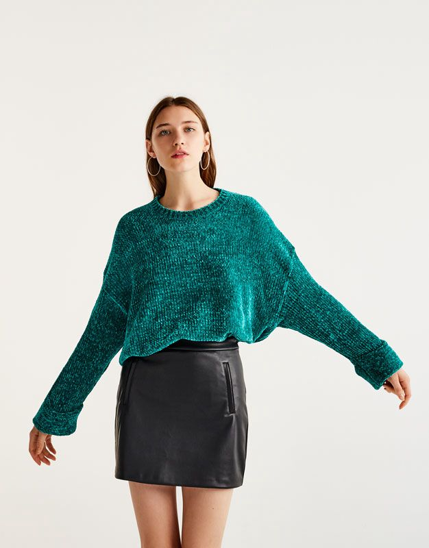 matching in colour great discount big discount Faux Leather Skirt - Pull & Bear | reve
