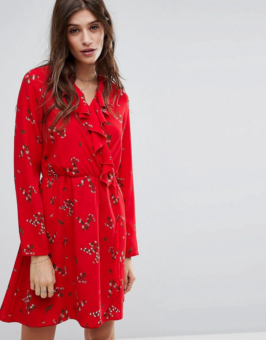 Floral Printed Tea Dress With Frill Detail - Lychee Vero Moda Petite crhEE
