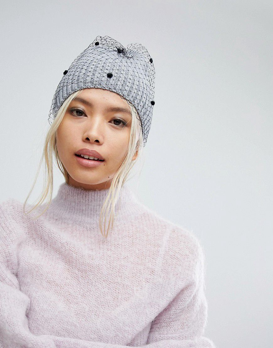 e7a200cce702e Helene Berman Ribbed Beanie With Veil - Asos