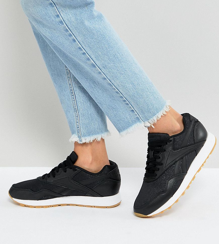 de65ac05dd99d3 Reebok Classic Rapide Trainers With Gum Sole In Black - Asos