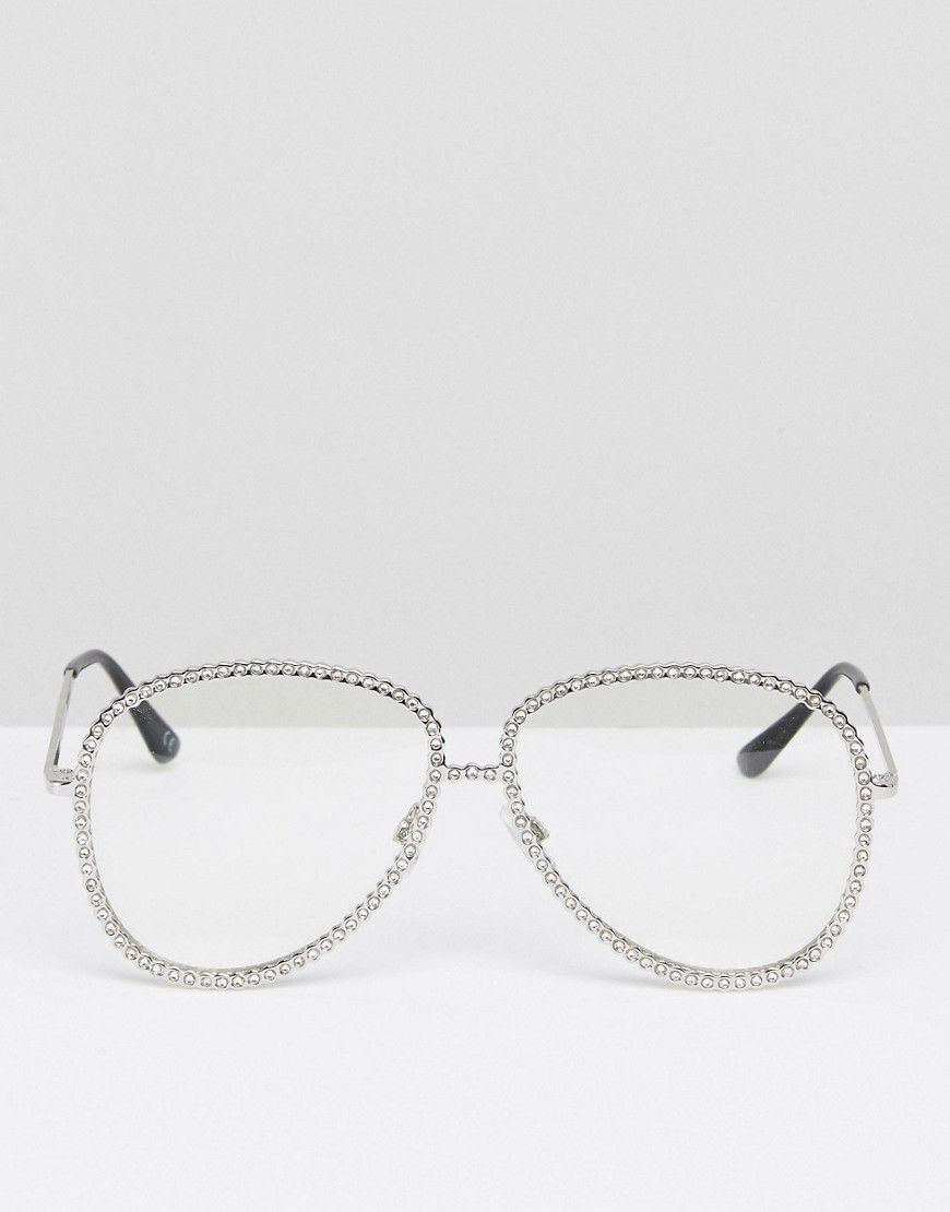 9d6b6e9dce4f1 Asos Geeky Embellished Aviator Clear Lens Glasses - Asos