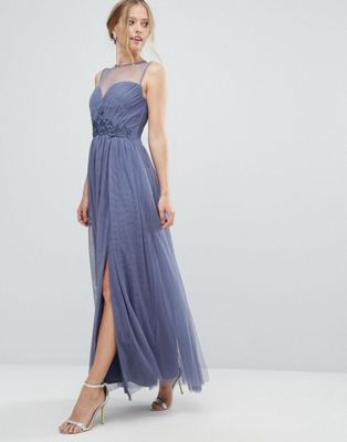 bb949653325 Little Mistress Sweetheart Mesh Maxi Dress With Embroidered Trim - Asos