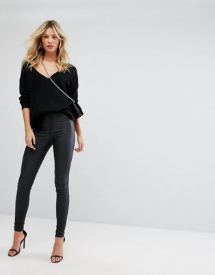 b1ef763a14e Missguided Tall Vice High Waisted Coated Skinny Jeans - Asos