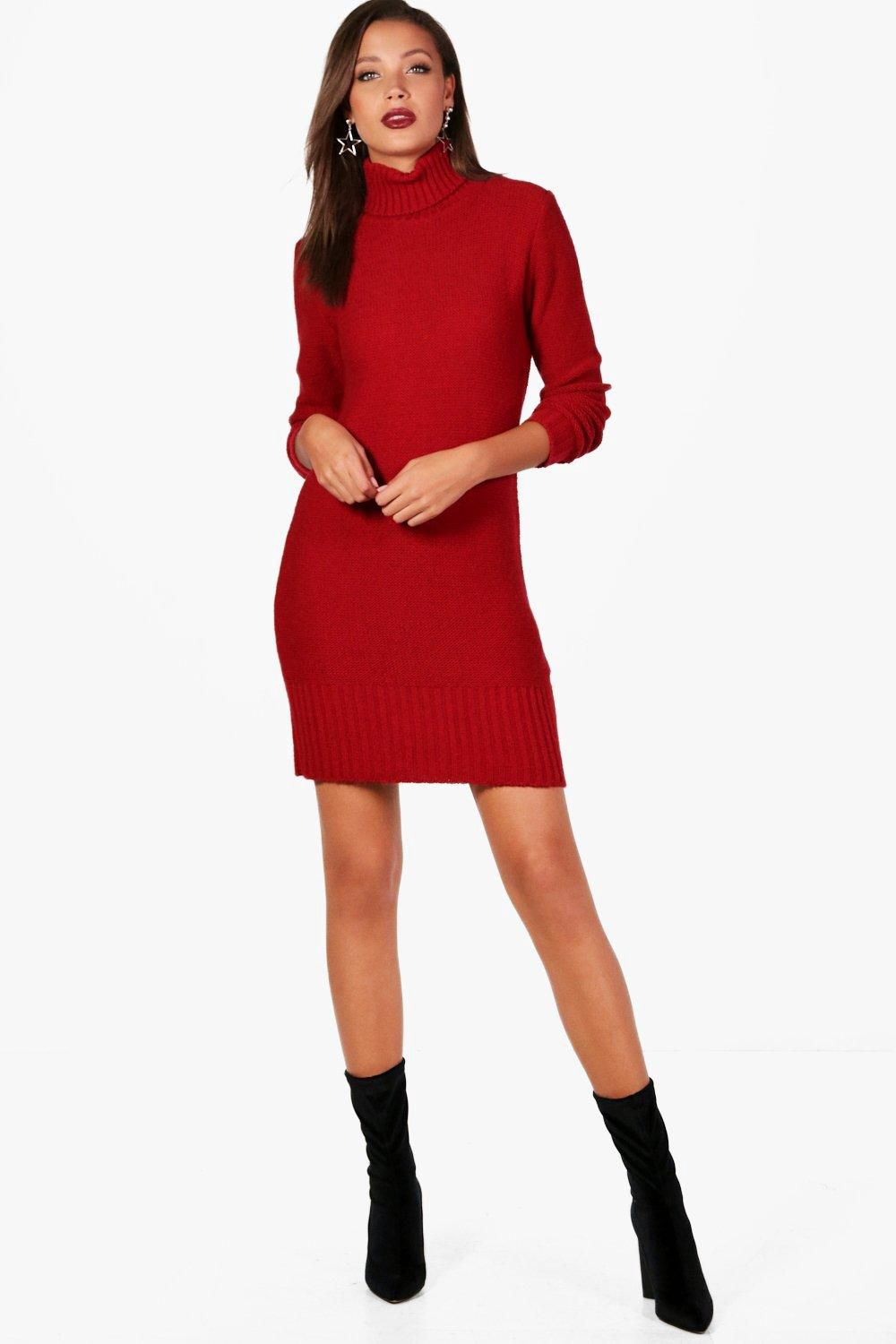Tall Roll Neck Jumper Dress - Boohoo  64c533b38