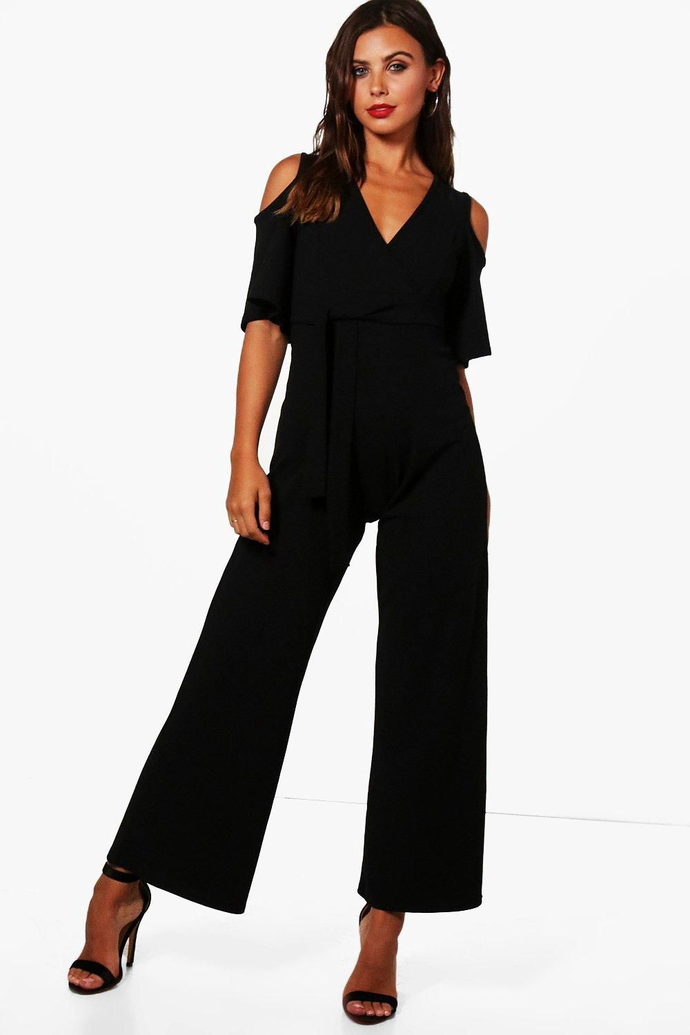 2c90d7e31f0 Petite Liza Wrap Cold Shoulder Wide Leg Jumpsuit - Boohoo