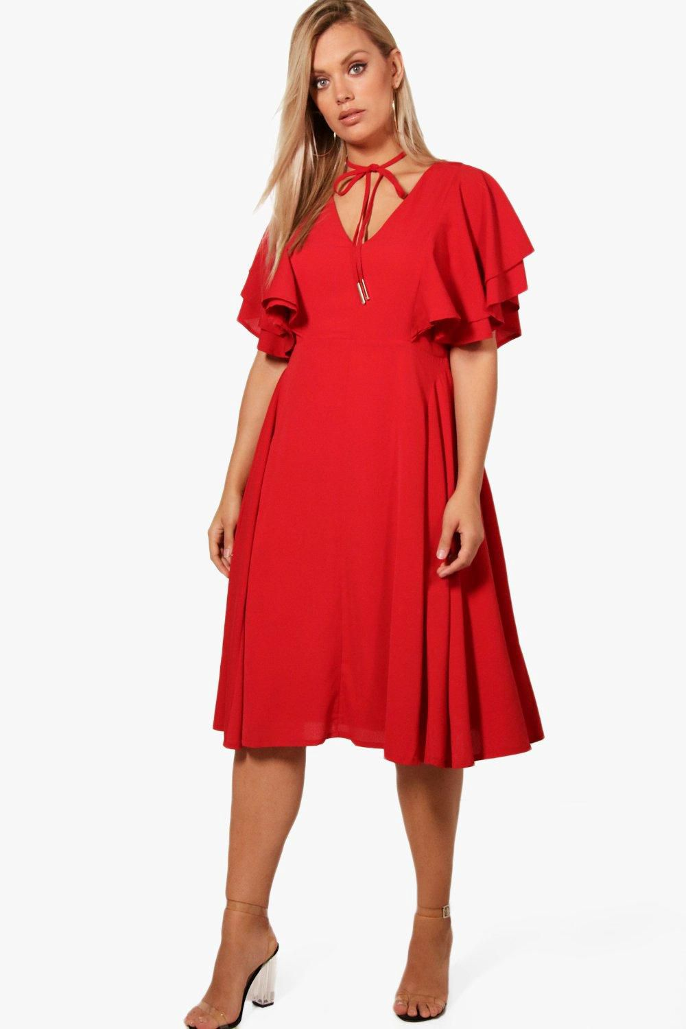 d9586f2050ecc Plus Ruffle Sleeve Tie Skater Dress - Boohoo