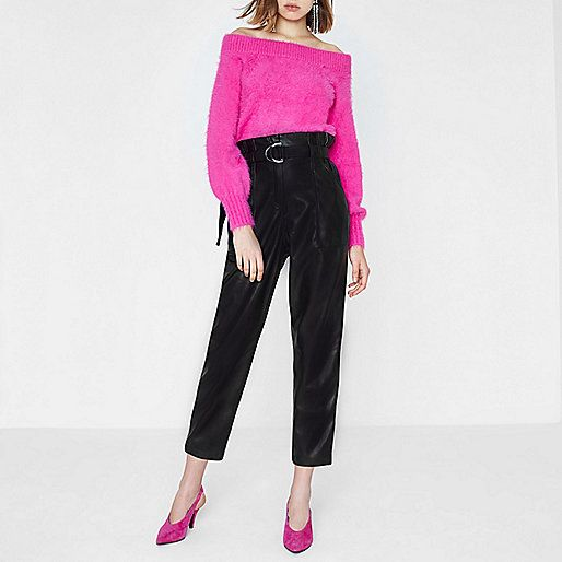 663390cea6736 Black Faux Leather Paperbag Waist Trousers - River Island
