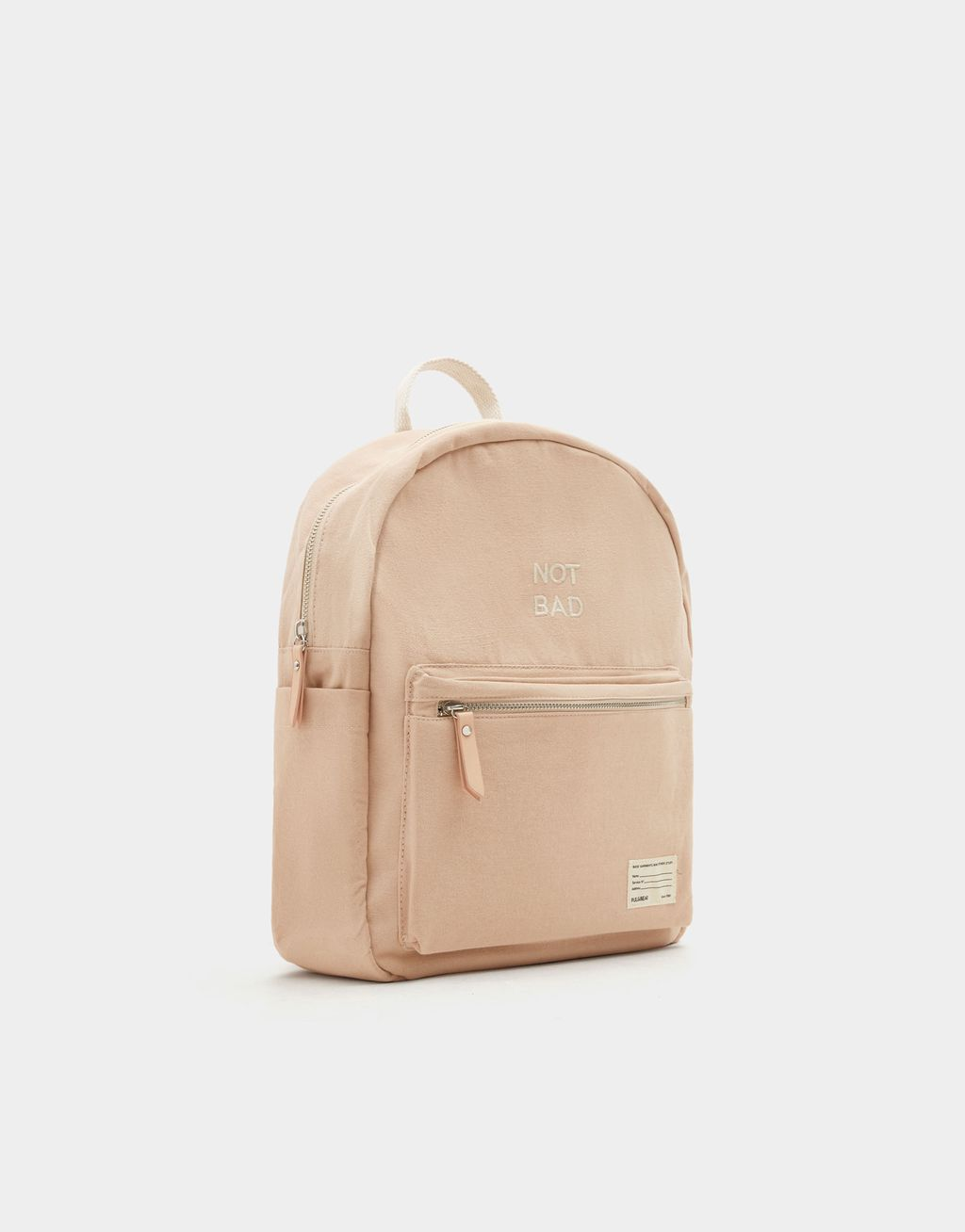 8d8874c4f6 Nude Fabric Mini Backpack With Slogan - Pull   Bear