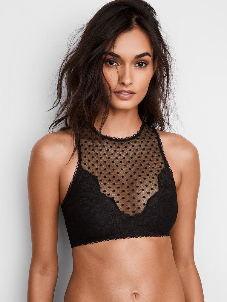 084b52160e Floral Lace   Dot Mesh High-Neck Bralette - Victoria s Secret