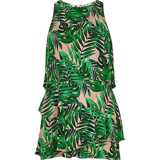 daf89cf549 Green Leaf Jacquard Tiered Frill Playsuit - River Island
