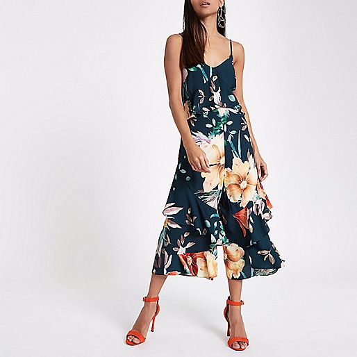 1a331d25fded Petite Navy Floral Frill Culotte Jumpsuit - River Island