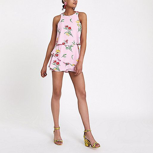 84c9ac7267c0 Pink Floral Tiered Frill Sleeveless Playsuit - River Island