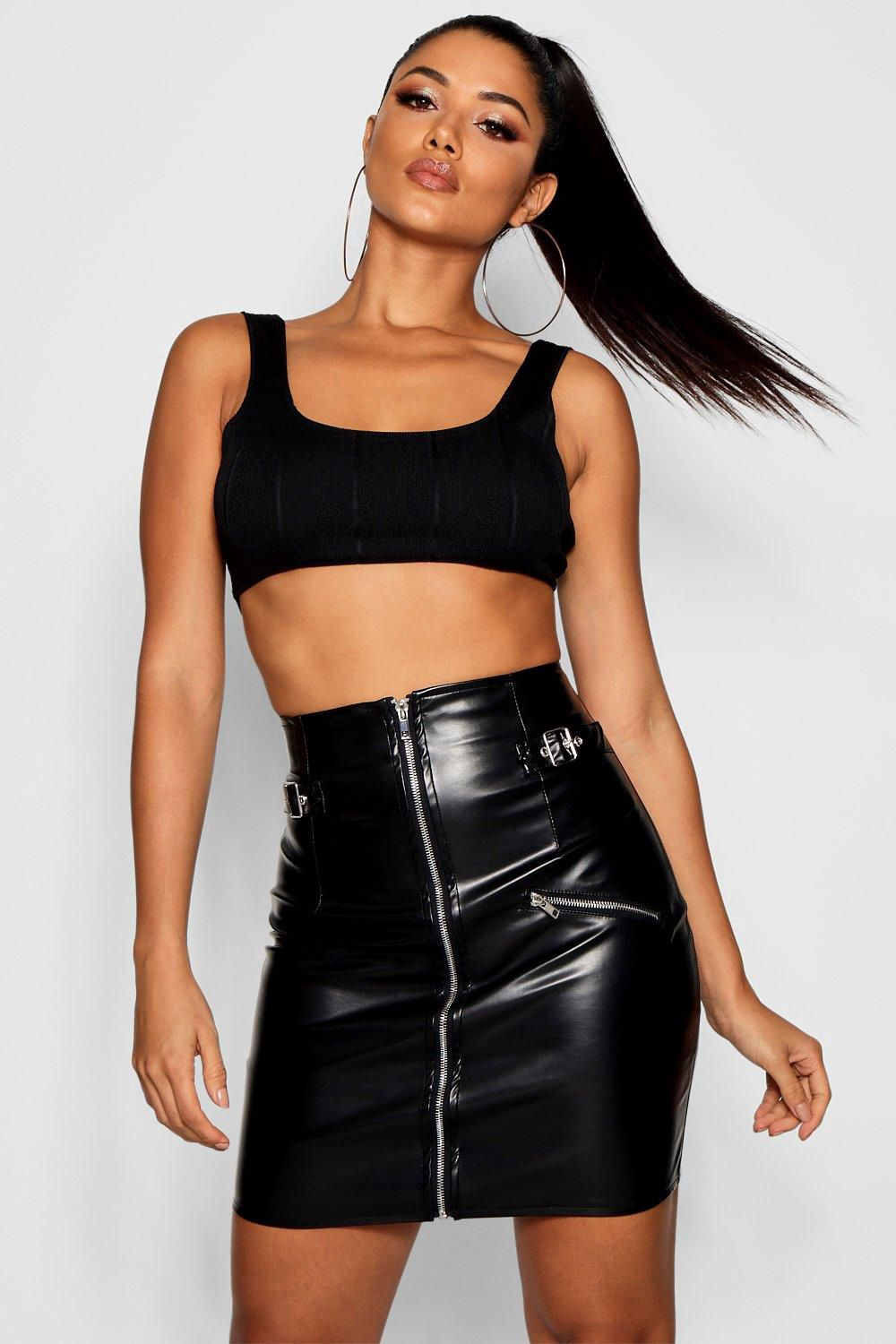 742fca8302 Extreme High Waisted Buckle Mini Skirt - Boohoo