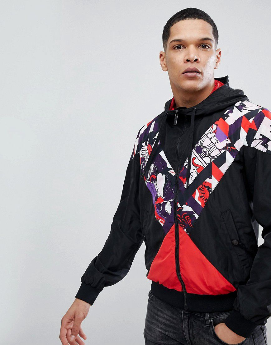 72eed60a70c21a Versace Jeans Windbreaker Jacket In Black With Print Panel - Asos