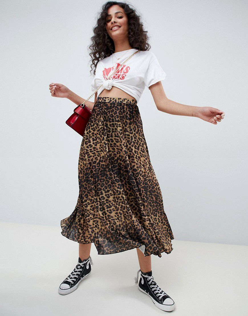 79d1431014 Asos Design Midi Pleated Skirt In Natural Leopard Print - Asos | reve