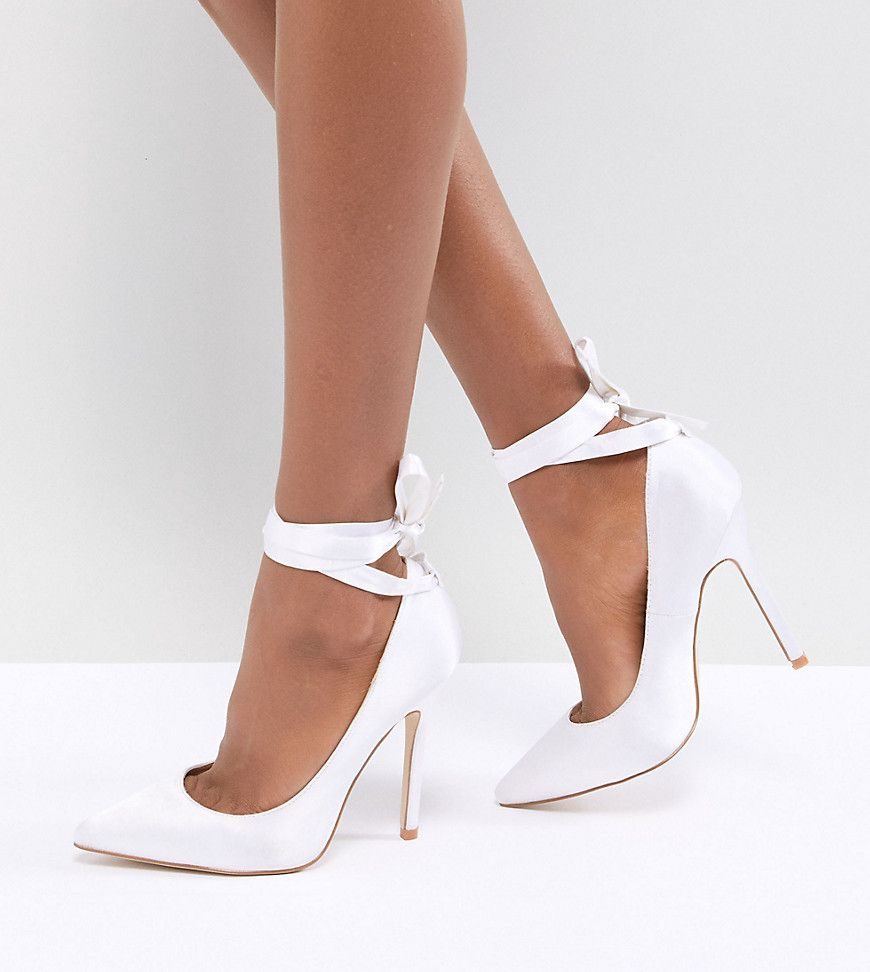 81a4dbed6f4 Be Mine Bridal Witch-Hazel Ivory Ankle Tie Court Shoes - Asos